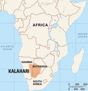 al sahawat times map of Kalahari desert